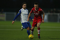 Charlie Stimson of AFC Hornchurch and Sam Youngs of Enfield Town during AFC Hornchurch vs Enfield Town, Velocity Trophy Final Football at Parkside on 10th April 2019