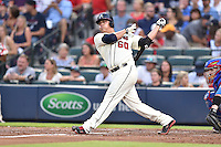 Atlanta Braves starting pitcher Manny Banuelos (60) swings at a pitch during a game against the Chicago Cubs on July 18, 2015 in Atlanta, Georgia. The Cubs defeated the Braves 4-0. (Tony Farlow/Four Seam Images)