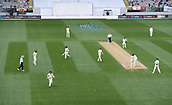 23rd March 2018, Eden Park, Auckland, New Zealand; International Test Cricket, New Zealand versus England, day 2;  Players run from the field as the rain showers arrive