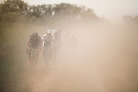 riders trying to find their way through the dust<br /> <br /> 91st Schaal Sels 2016