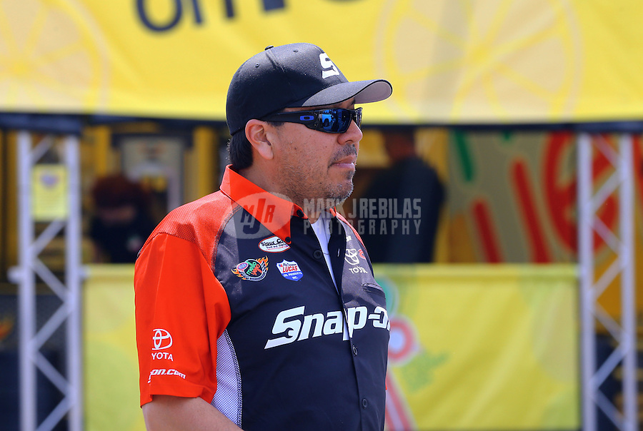 May 31, 2013; Englishtown, NJ, USA: NHRA funny car driver Cruz Pedregon during qualifying for the Summer Nationals at Raceway Park. Mandatory Credit: Mark J. Rebilas-