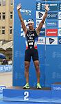 06.07.2019,  Innenstadt, Hamburg, GER, Hamburg Wasser World Triathlon, Elite Mainner, im Bild der Zweitplatzierte Vincent Luis (FRA) bei der Siegerehrung Foto © nordphoto / Witke *** Local Caption ***