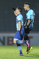 Scott Kashket of Wycombe Wanderers (left) celebrates after he scores the opening goal of the game during the Sky Bet League 2 match between Wycombe Wanderers and Leyton Orient at Adams Park, High Wycombe, England on 17 December 2016. Photo by David Horn / PRiME Media Images.