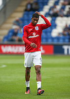 Marcus Rashford (Manchester United) of England catches his head before going on to score a hat trick on his debut during the International EURO U21 QUALIFYING - GROUP 9 match between England U21 and Norway U21 at the Weston Homes Community Stadium, Colchester, England on 6 September 2016. Photo by Andy Rowland / PRiME Media Images.