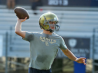 NWA Democrat-Gazette/MICHAEL WOODS &bull; @NWAMICHAELW<br /> Shiloh Christian quarterback Connor Reece runs drills during practice Tuesday August 4, 2015 at Champions Stadium in Springdale.