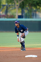 AZL Brewers shortstop Yeison Coca (7) on defense against the AZL Dodgers on July 25, 2017 at Camelback Ranch in Glendale, Arizona. AZL Dodgers defeated the AZL Brewers 8-3. (Zachary Lucy/Four Seam Images)
