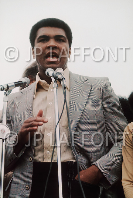 Oct 17, 1975 Trenton New Jersey. Muhammad Ali and Joe Frazier participated in a demonstration trying to obtain the liberation of former boxer Rubin (Hurricane) Carter sentenced 9 years ago for the murder of 3 people.