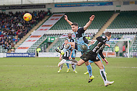 Matthew Bloomfield of Wycombe Wanderers and Oscar Threlkeld of Plymouth Argyle during the Sky Bet League 2 match between Plymouth Argyle and Wycombe Wanderers at Home Park, Plymouth, England on 30 January 2016. Photo by Mark  Hawkins / PRiME Media Images.