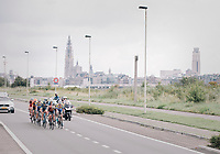 Early breakaway group with the Antwerp skyline as a backdrop<br /> <br /> Binckbank Tour 2017 (UCI World Tour)<br /> Stage 7: Essen (BE) &gt; Geraardsbergen (BE) 191km
