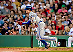 Jun 22, 2019; Boston, MA, USA; Toronto Blue Jays second baseman Cavan Biggio gets an RBI single in the 8th inning against the Boston Red Sox at Fenway Park. Mandatory Credit: Ed Wolfstein-USA TODAY Sports