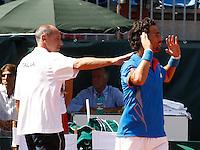 NAPOLI 15/09/2012.PLAY OFF DI COPPA DAVIS DI TENNIS  TRA ITALIA E CILE.NELLA FOTO ESULTANZA CORRADO BARAZZUTTI FABIO FOGNINI.FOTO CIRO DE LUCA