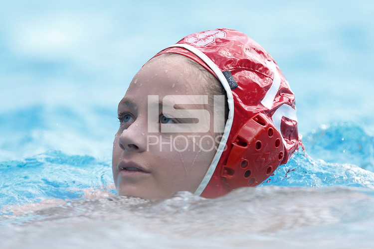 Stanford, CA - March 23, 2019: Sarah Klass during the Stanford vs. Harvard women's water polo game at Avery Aquatic Center Saturday.<br /> <br /> The Cardinal won 20-7.