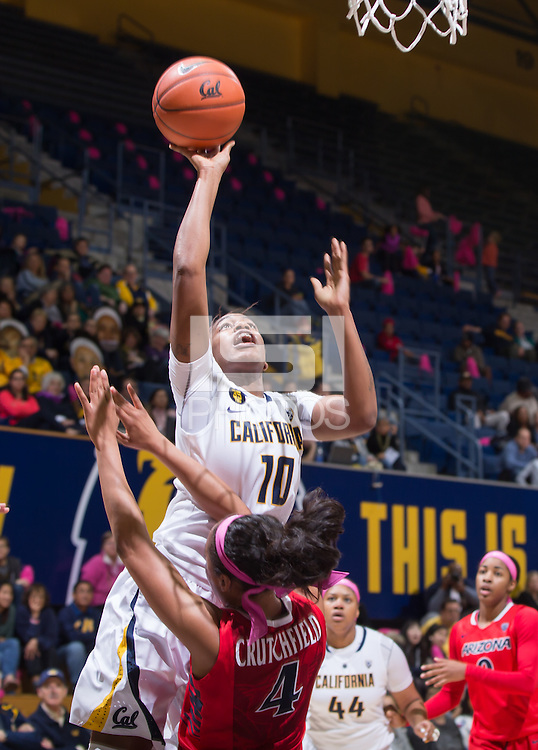 California's Mercedes Jefflo shoots for the basket during a  game against Arizona at Haas Pavilion in Berkeley, California on February 14th, 2014. California defeated Arizona 65 - 49