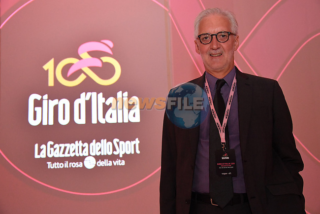 UCI President Brian Cookson at the 100th edition Giro d`Italia 2017 route presentation held at the Ice Palace in Milan, 25th October 2016.<br /> Picture: ANSA/Luca Zennaro | Newsfile<br /> <br /> <br /> All photos usage must carry mandatory copyright credit (&copy; Newsfile | ANSA/Luca Zennaro)