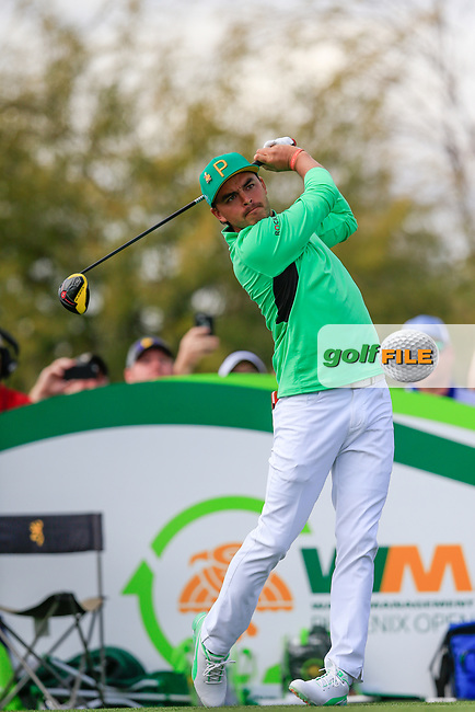 Rickie Fowler (USA) on the 9th during the 3rd round of the Waste Management Phoenix Open, TPC Scottsdale, Scottsdale, Arisona, USA. 02/02/2019.<br /> Picture Fran Caffrey / Golffile.ie<br /> <br /> All photo usage must carry mandatory copyright credit (&copy; Golffile | Fran Caffrey)