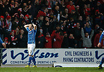 St Johnstone v Aberdeen...06.02.16   SPFL   McDiarmid Park, Perth<br /> Tam Scobbie shows his frustration as the Aberdeen fans celebrate the third goal<br /> Picture by Graeme Hart.<br /> Copyright Perthshire Picture Agency<br /> Tel: 01738 623350  Mobile: 07990 594431