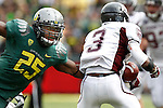 09/17/11-- Oregon's Boseko Lokombo pursues Missouri State Julian Burton in the first half at Autzen Stadium in Eugene, Or....Photo by Jaime Valdez. ..............................................
