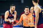 Barcelona's player Juan Carlos Navarro talking with the Referee during Liga Endesa 2015/2016 Finals 3rd leg match at Barclaycard Center in Madrid. June 20, 2016. (ALTERPHOTOS/BorjaB.Hojas)