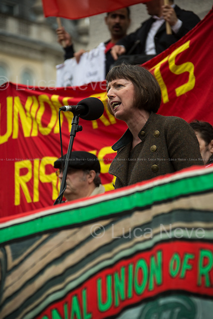 Frances O'Grady (Trades Union Congress, TUC General Secretary).<br /> <br /> London, 01/05/2014. Thousands of people marched in central London to celebrate the International Workers' Day dedicated this year to the two great leaders, Bob Crow (General Secretary &amp; leader of the Rail Maritime and Transport Union, RMT) and Tony Benn (Former Labour Cabinet Minister, Socialist and leading left-wing and anti-war campaigner), both passed away in March 2014. The rally started in Clerkenwell Green and ended in Trafalgar Square where speakers gave speeches remembering the two late leaders, in defence of worker's rights, in protest against the coalition Government spending cuts and policies, and in support and solidarity with the other demonstrations held around the world.