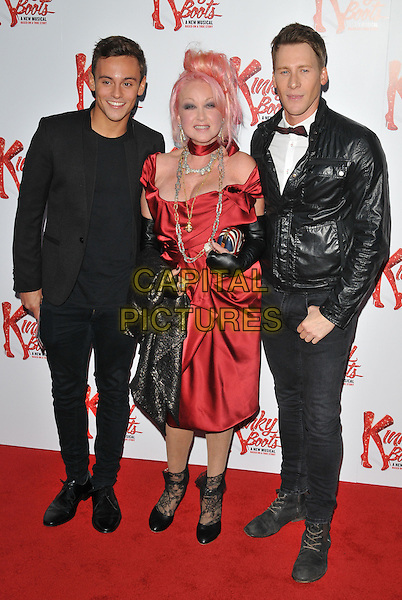 Tom Daley, Cyndi Lauper &amp; Dustin Lance Black attend the &quot;Kinky Boots&quot; press night, Adelphi Theatre, The Strand, London, England, UK, on Tuesday 15 September 2015. <br /> CAP/CAN<br /> &copy;Can Nguyen/Capital Pictures