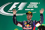 Sebastian VETTEL, GER, RedBull Racing,3rd place -     <br /> Team Infiniti Red Bull Racing,<br /> SUZUKA, JAPAN, 05.10.2014, Formula One F1 race, podium, JAPAN Grand Prix, Grosser Preis, GP du Japon, Motorsport, Photo by: Sho TAMURA/AFLO SPORT  -  GERMANY OUT