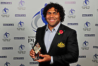 PICTURE BY SIMON WILKINSON/SWPIX.COM...Rugby League - Gillette 4 Nations 2011 - Rugby League International Federation International Player of the Year Awards 2011 - Tower of London, London, England - 02/11/11…Australia's Sam Thaiday wins Second Row of the Year.