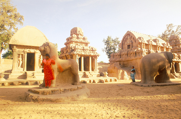 MAMALLAPURAM, INDIA  : The Five Rathas (Pancha Pandava Rathas) are the most famous example of Pallava architecture.+ These five architectures are made out of five individual pieces of granite, with its own elevation, plan and exquisite detail. These individual rathas (chariots) are named after Draupadi (wife of Pandavas)+ Durga (a warrior wife of Shiva who rides a lion), Arjuna (a warrior in Mahabaratha) and Bhima (a Pandava Son). The sculptures of+ an elephant (the vehicle of Indra)+ lion (the vehicle of Durga) and Nandi bull (the vehicle of Shiva) are structurally displayed in complete.
