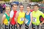 Pictured at the Milltown Mini Marathon on Sunday, from left: Tina Donovan (Castleisland), Jason Kerins (Castleisland), Billy Lacey (Tralee), Kate Spring (Firies) and Richard O'Brien (Killarney)..