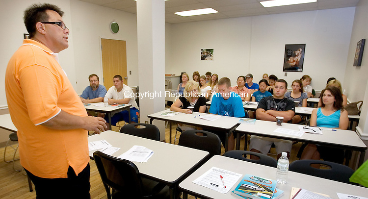 WATERTOWN, CT. 11 June 2011-071111SV03--Driving instructor Jim Owens gives a safe driving class to students and their parents at All-Star Driver in Watertown Monday.<br /> Steven Valenti Republican-American