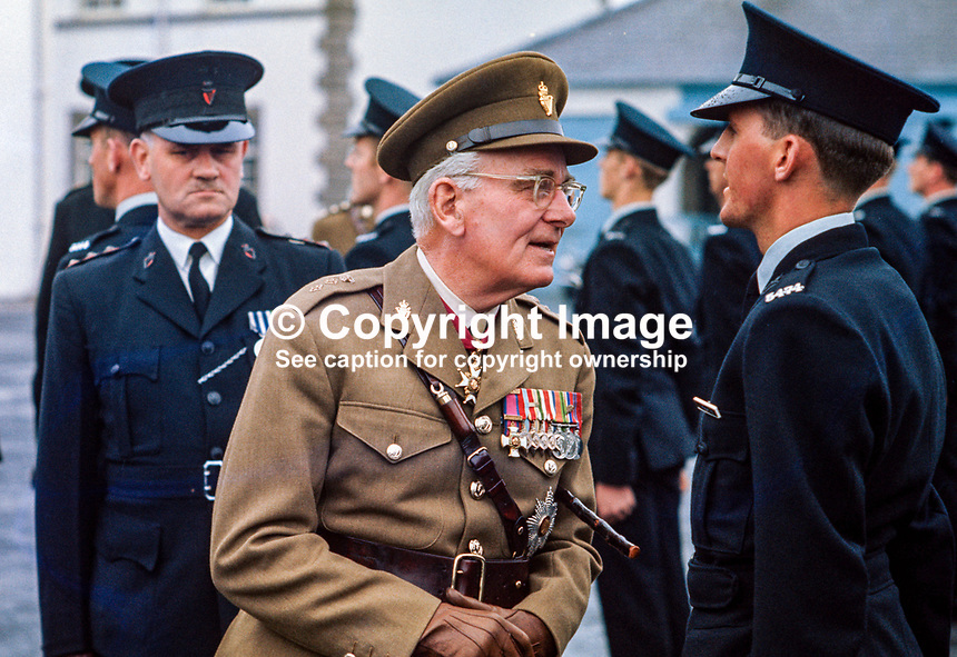 General Sir John Anderson, a native of N Ireland and the first colonel-commandant of the Ulster Defence Regiment, was the inspecting officer at this passing-out parade of RUC recruits. 197107000279JA3..Copyright Image from Victor Patterson, 54 Dorchester Park, Belfast, UK, BT9 6RJ..Tel: +44 28 9066 1296.Mob: +44 7802 353836.Voicemail +44 20 8816 7153.Skype: victorpattersonbelfast.Email: victorpatterson@mac.com.Email: victorpatterson@ireland.com (back-up)..IMPORTANT: If you wish to use this image or any other of my images please go to www.victorpatterson.com and click on the Terms & Conditions. Then contact me by email or phone with the reference number(s) of the image(s) concerned.