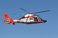 Coast Guard MH-65 Dolphin helicopter from Air Station San Francisco in flight.