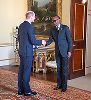 20/01/2020 - Prince William The Duke of Cambridge receives the President of Rwanda Paul Kagame during audiences at Buckingham Palace In London. Photo Credit: ALPR/AdMedia