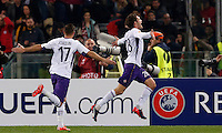 Calcio, Europa League: Ritorno degli ottavi di finale Roma vs Fiorentina. Roma, stadio Olimpico, 19 marzo 2015.<br /> Fiorentina's Marcos Alonso, right, celebrates with teammate Joaquin Sanchez Rodriguez after scoring during the Europa League round of 16 second leg football match between Roma and Fiorentina at Rome's Olympic stadium, 19 March 2015.<br /> UPDATE IMAGES PRESS/Riccardo De Luca