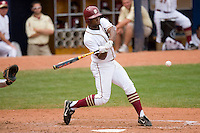 D'Vontrey Richardson #27 of the Florida State Seminoles takes a swing at the baseball at Durham Bulls Athletic Park May 24, 2009 in Durham, North Carolina. The Virginia Cavaliers defeated the Florida State Seminoles 6-3 to win the 2009 ACC Baseball Championship.  (Photo by Brian Westerholt / Four Seam Images)