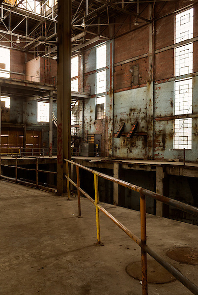 February 18, 2015. Winston Salem, North Carolina.<br />  Bailey Power Plant, one of the last buildings on the Wake Forest Innovation Quarter campus that will be developed, was a former RJR Tobacco plant and has been vacant for years.<br />  The Wake Forest Innovation Quarter, encompassing 145 developable acres, is an inner city development project focusing on biomedical sciences and information technology. The project is a collaboration between the city of Winston Salem, a private developer and Wake Forest University.The newest building in the $500 million project is a $50 million education building for the university's medical school. Many professional firms have moved into offices in the various buildings of the Innovation Quarter as the city shifts from a tobacco town to one of technological advancement.