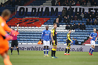 Oldham Athletic's fans watch their team in action during the Sky Bet League 1 match between Oldham Athletic and Rotherham United at Boundary Park, Oldham, England on 13 January 2018. Photo by Juel Miah / PRiME Media Images.