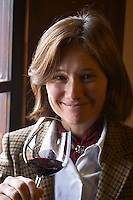 Elisa Trabal de Bouza owner, tasting a glass of wine. Bodega Bouza Winery, Canelones, Montevideo, Uruguay, South America