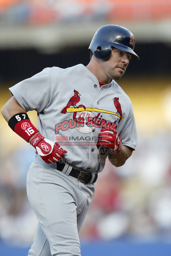Jim Edmonds of the St. Louis Cardinals runs the bases during a 2002 MLB season game against the Los Angeles Dodgers at Dodger Stadium, in Los Angeles, California. (Larry Goren/Four Seam Images)