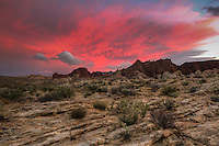 Sunset at the Valley of Fire State Park in Nevada.