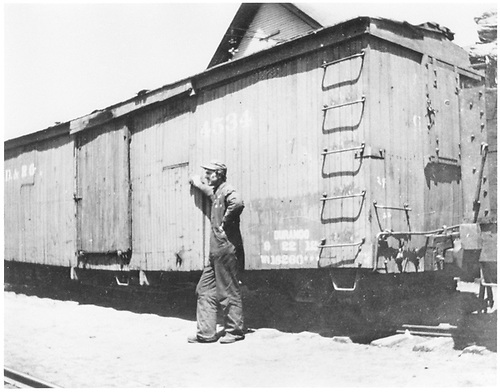 3/4 view, mostly of &quot;A&quot; end, of box car #4534.  This car was built in 1881 as Class 3, 24', 10-ton.<br /> D&amp;RG  Durango, CO  ca. 1912