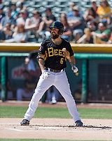 Dustin Ackley (6) of the Salt Lake Bees at bat against the Fresno Grizzlies in Pacific Coast League action at Smith's Ballpark on April 16, 2017 in Salt Lake City, Utah. Salt Lake defeated Fresno 5-4. (Stephen Smith/Four Seam Images)