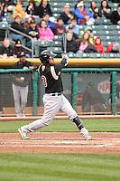 Hiroyuki Nakajima (3) of the Sacramento River Cats at bat against the Salt Lake Bees at Smith's Ballpark on April 3, 2014 in Salt Lake City, Utah.  (Stephen Smith/Four Seam Images)
