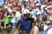 Rickie Fowler (USA) on the 1st tee to start his match during Friday's Round 2 of the 117th U.S. Open Championship 2017 held at Erin Hills, Erin, Wisconsin, USA. 16th June 2017.<br /> Picture: Eoin Clarke | Golffile<br /> <br /> <br /> All photos usage must carry mandatory copyright credit (&copy; Golffile | Eoin Clarke)