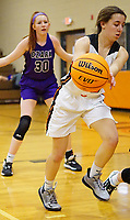 Westside Eagle Observer/RANDY MOLL<br /> Shylee Morrison, Gravette junior guard, passes the ball to a teammate during play against Ozark on Tuesday, Jan. 28, 2020, at Gravette.