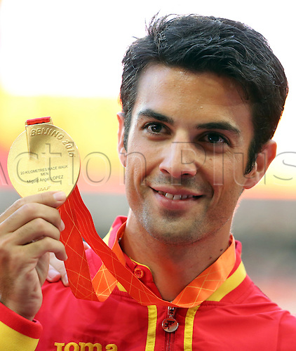 22.08,2015. Beijing, China.   Spain's Miguel Angel Lopez shows his gold medal for the Men's 20 km Race Walk during the 15th International Association of Athletics Federations (IAAF) Athletics World Championships in Beijing, China, 23 August 2015.