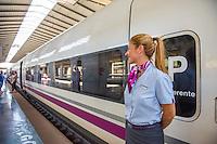 Spain, Seville. Renfe trains, staff. Model released.