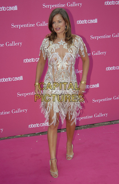 JADE JAGGER.Arrives at the Serpentine Gallery Summer Party,.Kensington Palace Gardens,.London, 16 June 2004..full length full-length silver sparkly jewelled see thru see through dress nipple showing hoop earings gold bangles fethered tassled.www.capitalpictures.com.sales@capitalpictures.com.©Capital Pictures