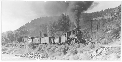 Engine #20 hauling gondola, two box cars and caboose from Placerville to Vance Junction.<br /> RGS  Placerville area, CO  Taken by Perry, Otto C. - 9/27/1942