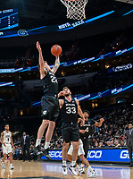 WASHINGTON, DC - JANUARY 28: Sean McDermott #22 of Butler pulls in a rebound during a game between Butler and Georgetown at Capital One Arena on January 28, 2020 in Washington, DC.