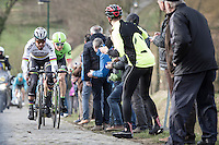 Peter Sagan &amp; Sep Vanmarcke up the Haaghoek cobbles<br /> <br /> 72nd Omloop Het Nieuwsblad 2017